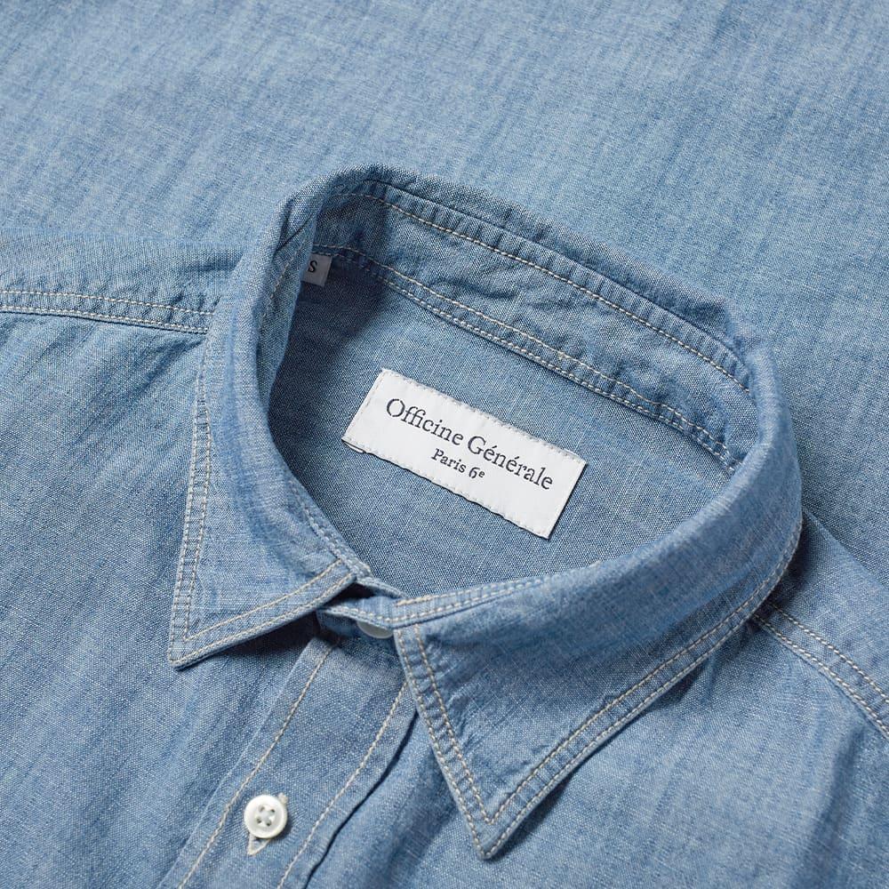 Officine Générale Alex Denim Chambray Shirt - Chambray Blue