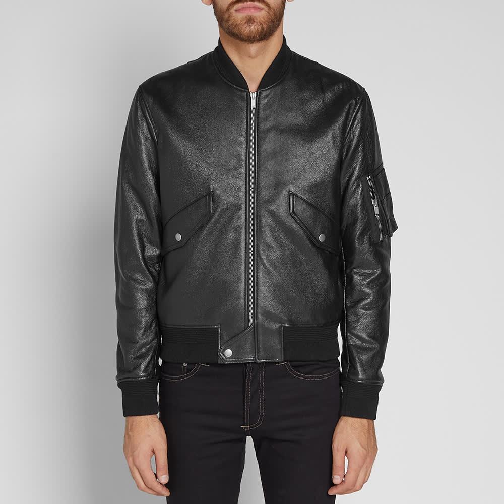 Saint Laurent Leather MA-1 Bomber Jacket - Black