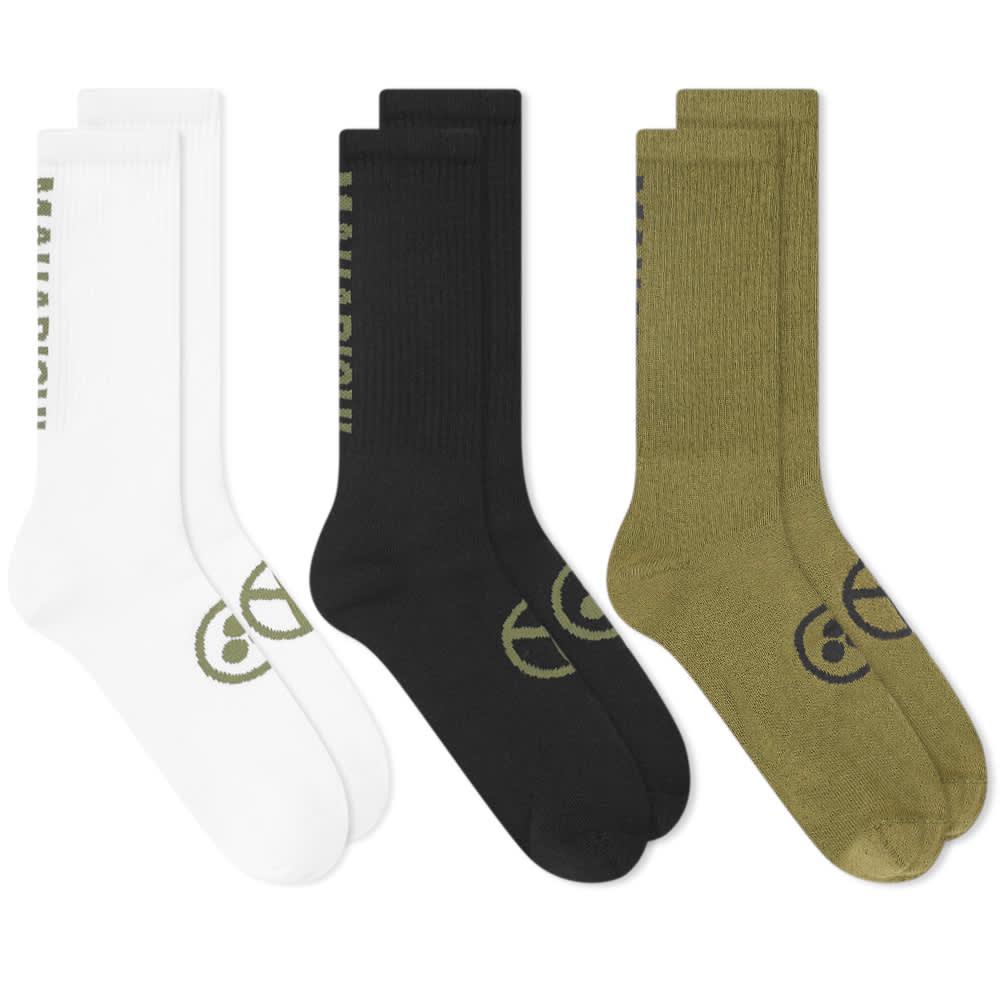 Maharishi MILTYPE Peace Sports Socks - 3 Pack - Black & Olive
