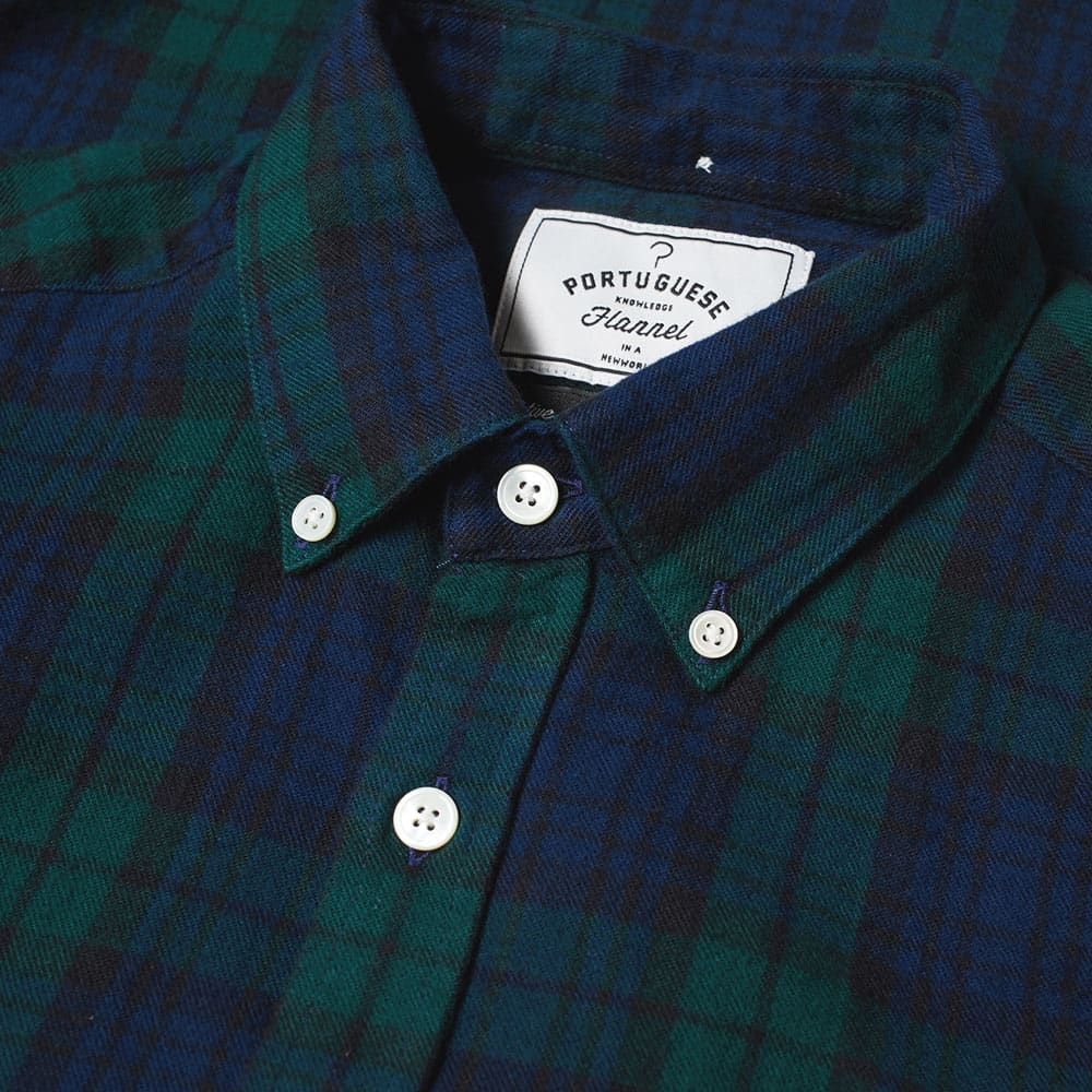 Portuguese Flannel Button Down Bonfim Check Shirt - Black Watch Tartan