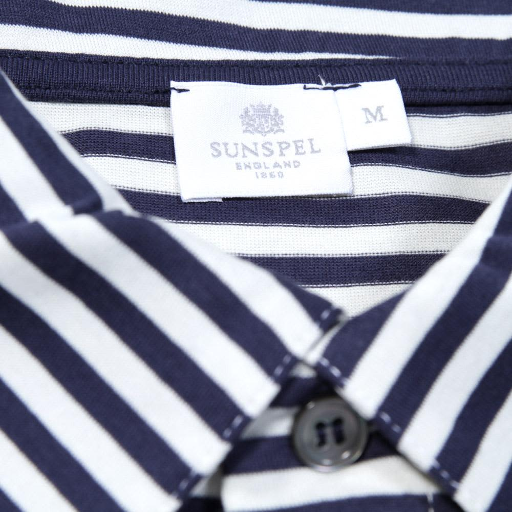Sunspel French Stripe Jersey Polo - Irish Cream & Moonlight