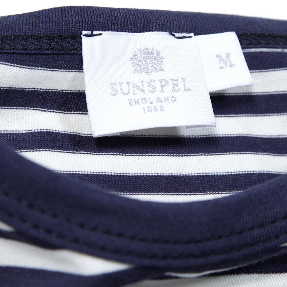 Sunspel French Stripe Crew Neck Tee  - Irish Cream & Moonlight