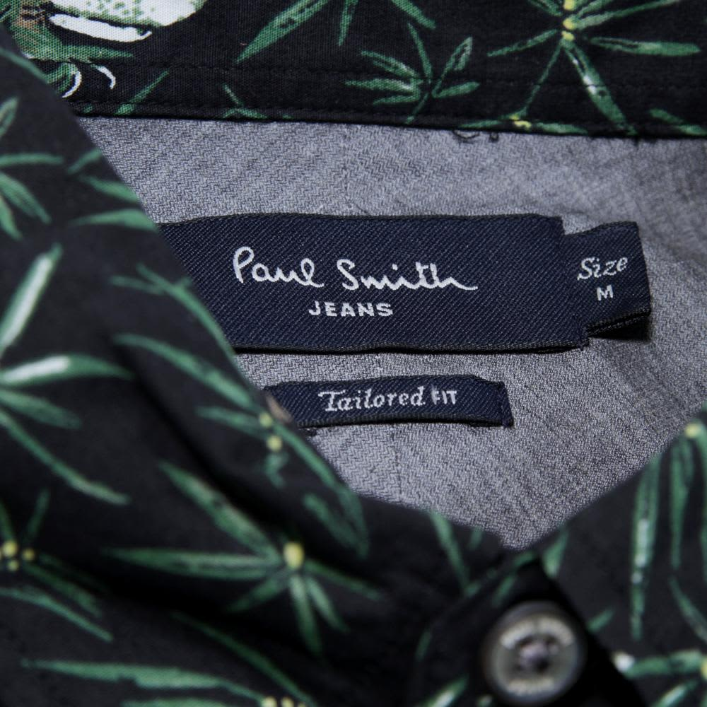Paul Smith Tailored Fit SS Shirt - Black Parrot Print