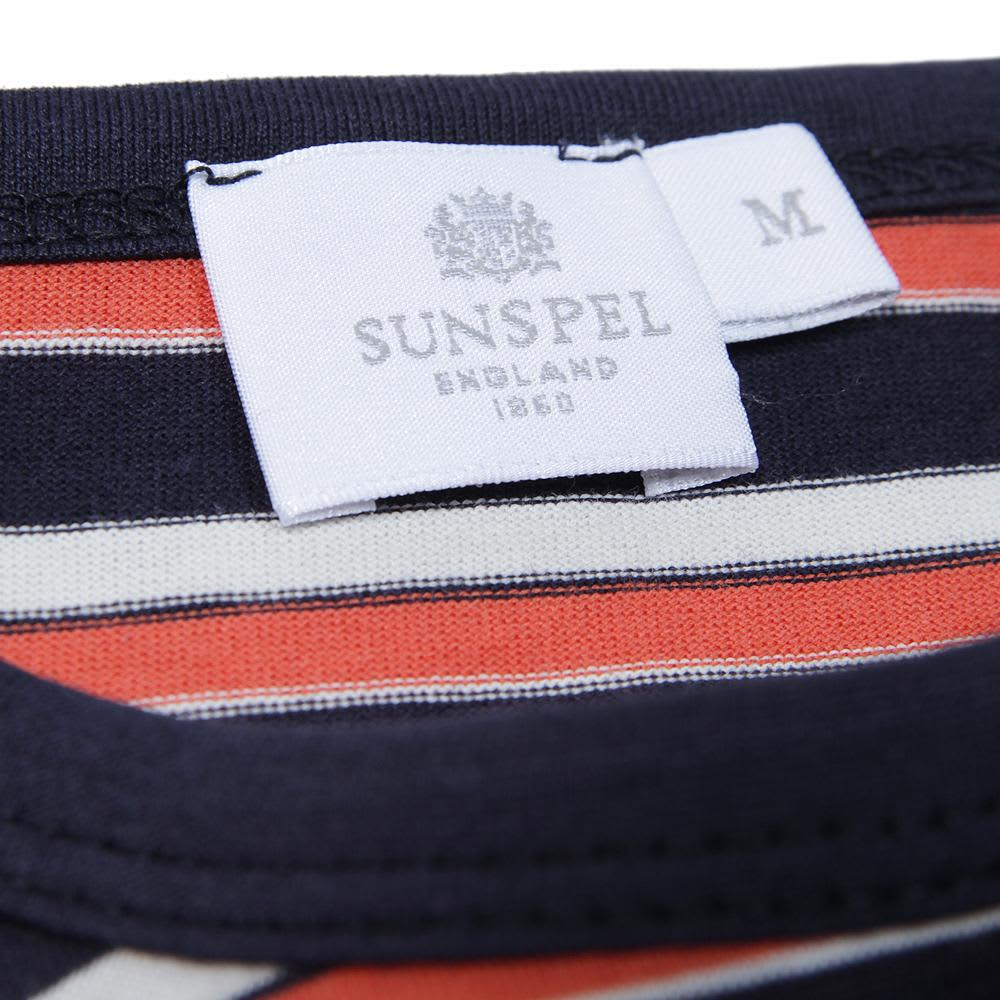 Sunspel Henley Stripe Crew Neck Tee  - Navy, Irish Cream and Cherry