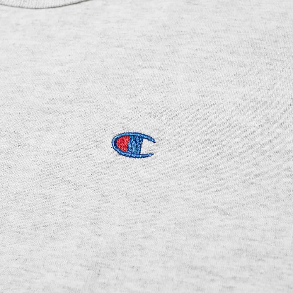 Champion Reverse Weave Rear Script Logo Tee - Grey Marl