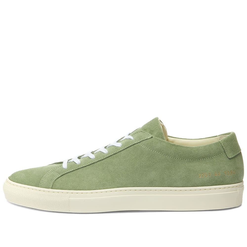 Common Projects Original Achilles Low Suede Contrast Sole - Green