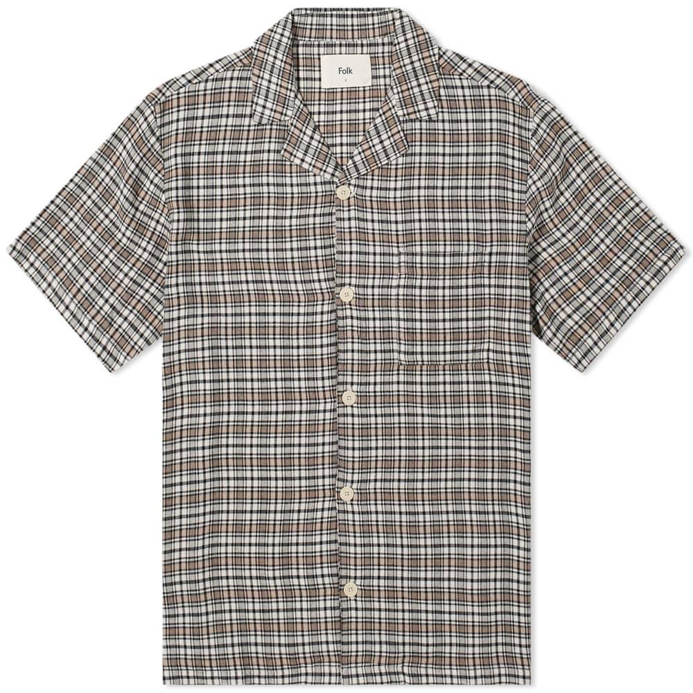 Folk Soft Collar Shirt - Black Natural Check