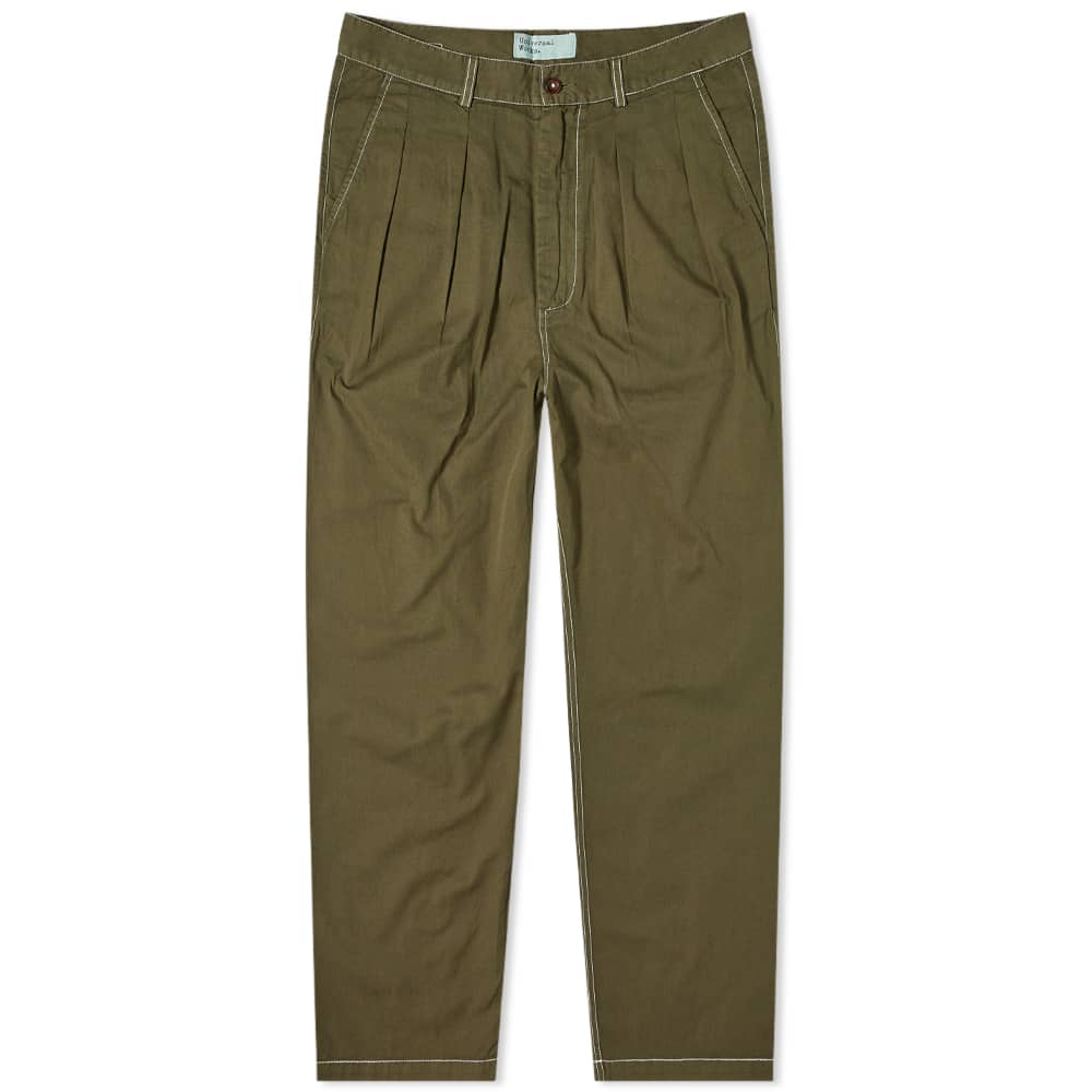 Universal Works Fine Twill Double Pleat Pant - Olive