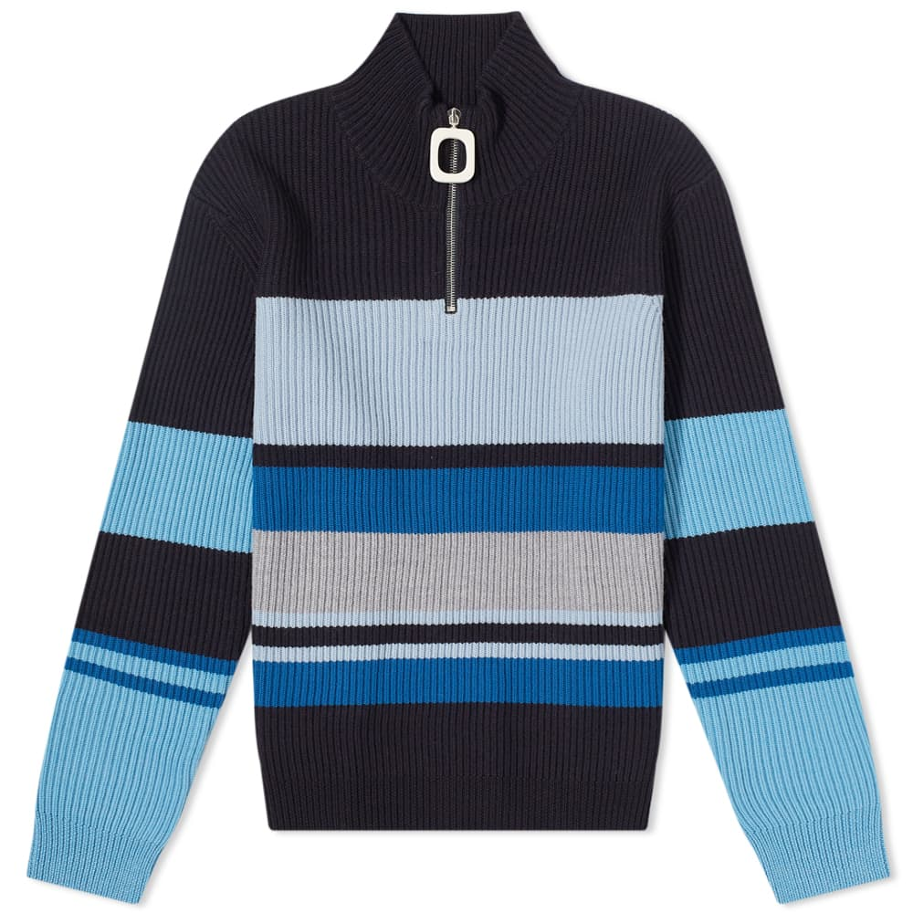 JW Anderson Roll Neck Striped Knit - Navy