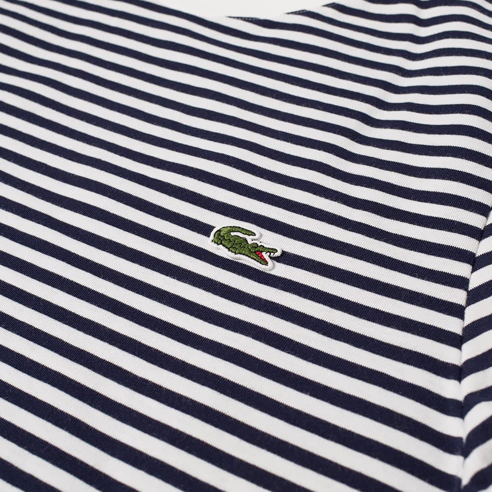 Lacoste Stripe Tee - White & Navy