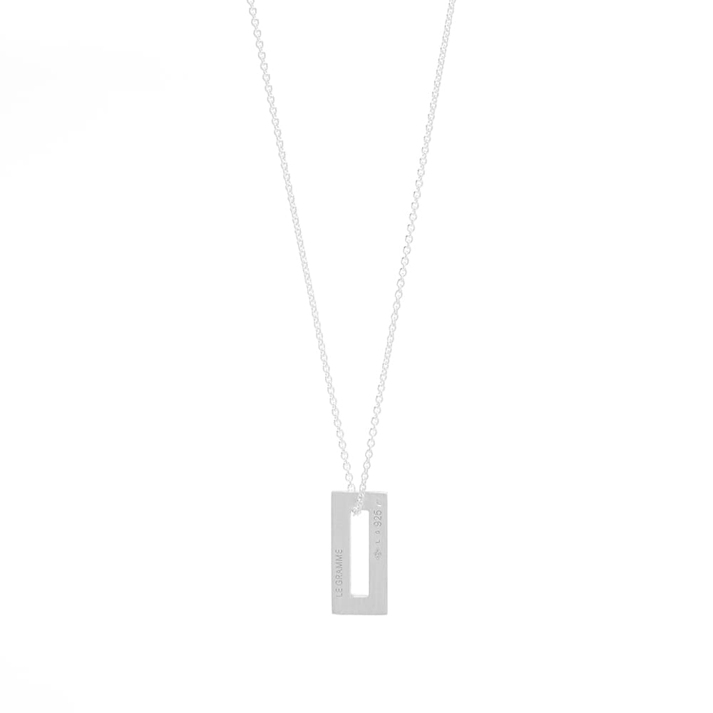 Le Gramme Small Rectangle Pendant Necklace - Silver 1.5g