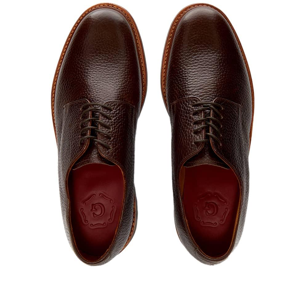 Grenson Curt Commando Sole Derby Shoe - Dark Brown Natural Grain