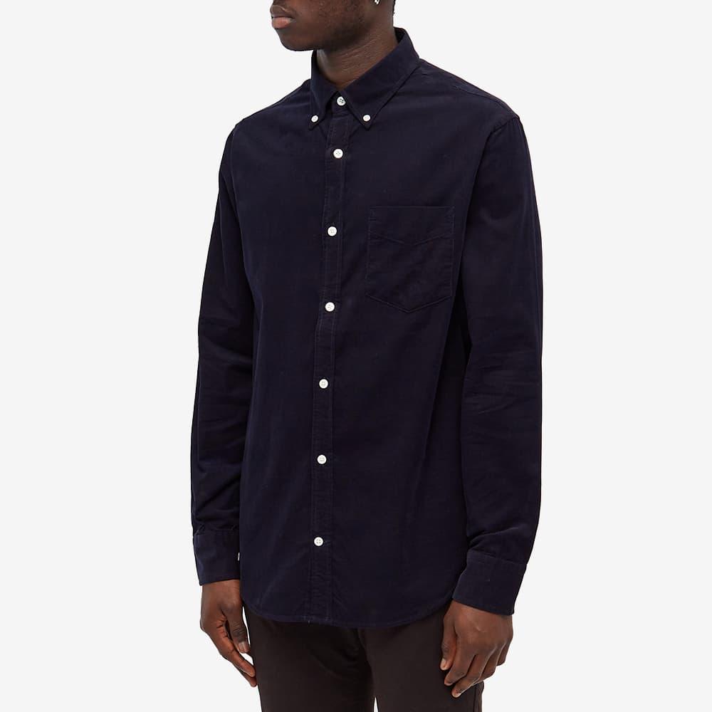 NN07 Levon Button Down Corduroy Shirt - Navy Blue