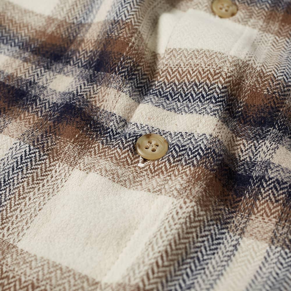John Elliott Sly Cotton Straight Hem Shirt - Natural & Navy