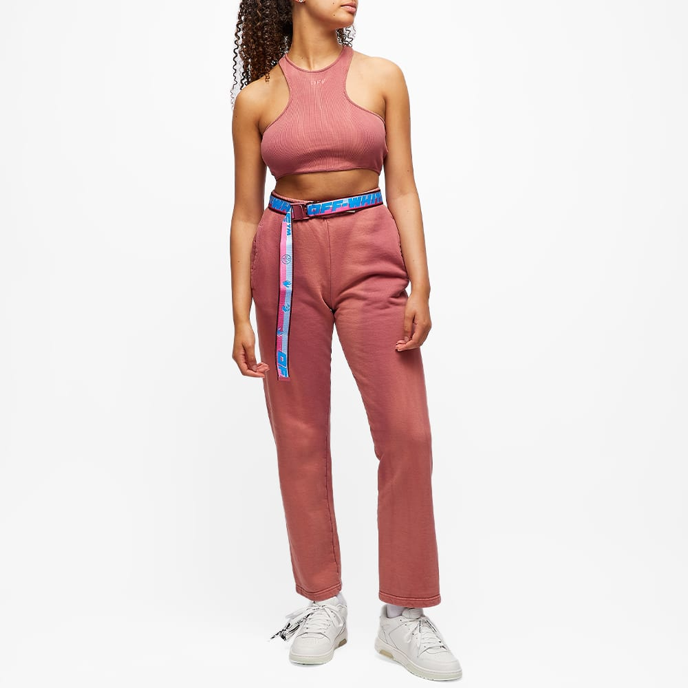 END. x Off-White Ribbed Rowing Top - Burgundy & Fuchsia