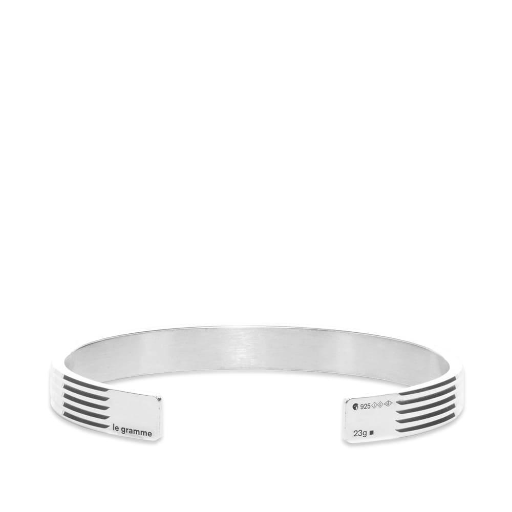 Le Gramme Guilloche Horizontal Bracelet - Sterling Silver 23g
