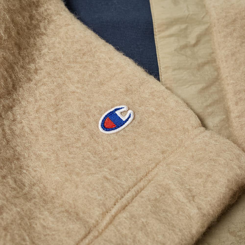 Champion Reverse Weave Teddy Cashmere Nylon Half Zip - Navy Beige