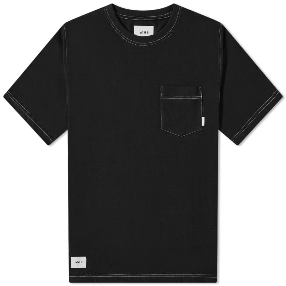 WTAPS Blank Contrast Stitch Pocket Tee - Black