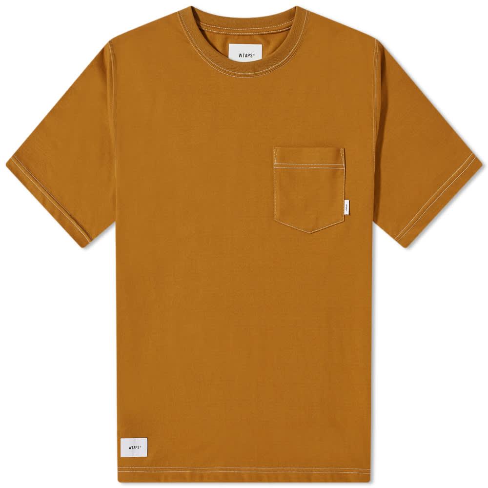 WTAPS Blank Contrast Stitch Pocket Tee - Camel