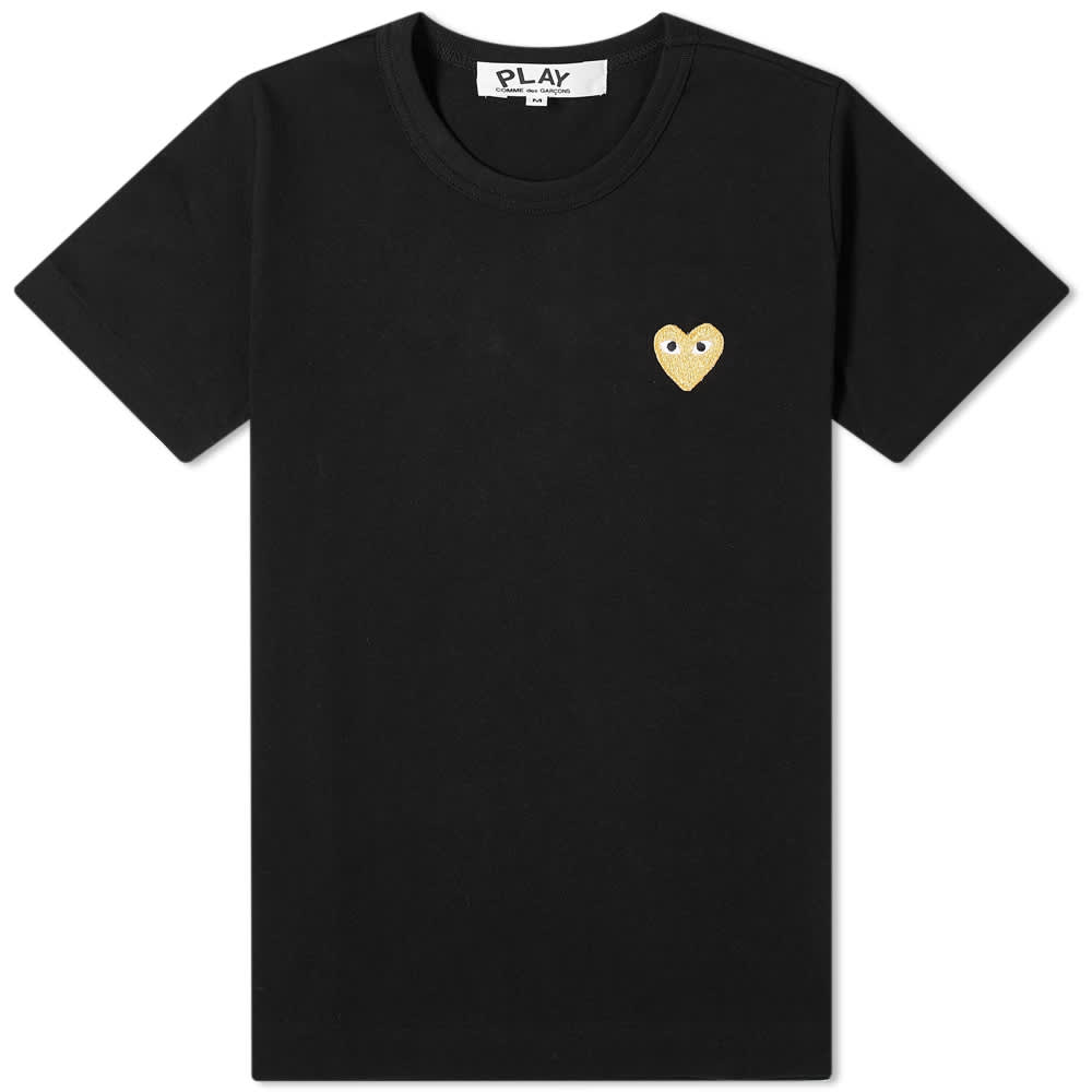 Comme des Garcons Play Women's Gold Heart Logo Tee - Black