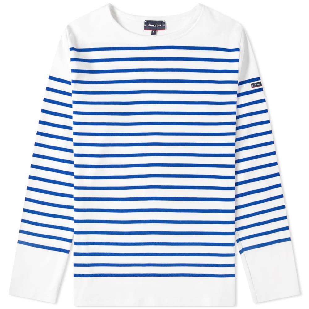 Armor-Lux 1140 Long Sleeve Sailor Tee - White & Blue
