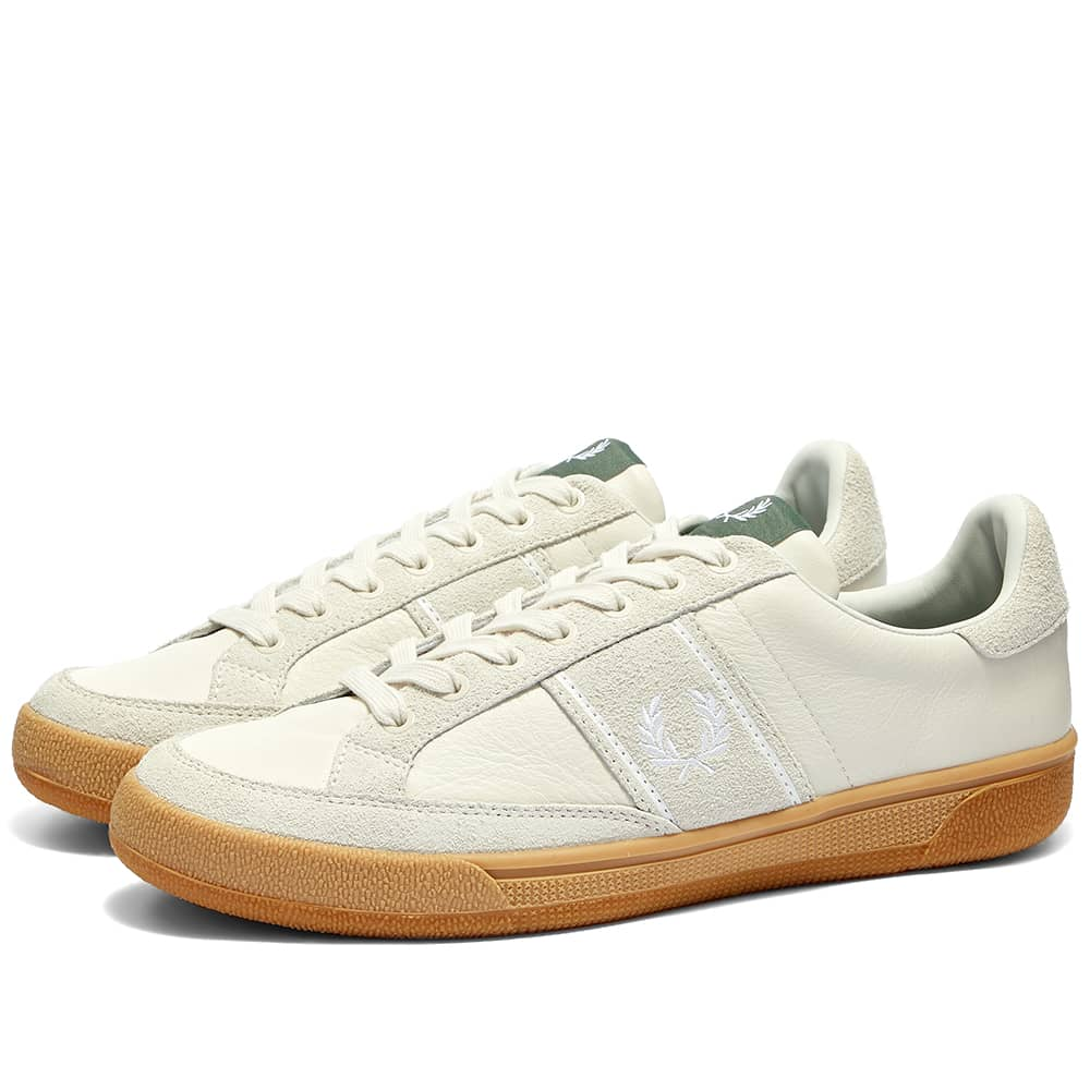 Fred Perry B3 Leather & Suede Gum Sole Sneaker - White & Gum