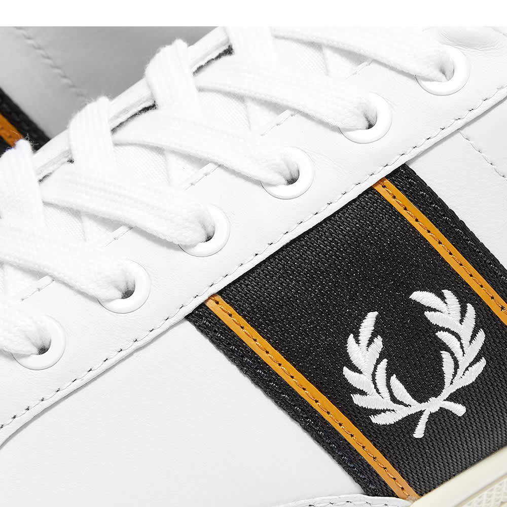 Fred Perry B3 Leather Taped Sneaker - White & Navy
