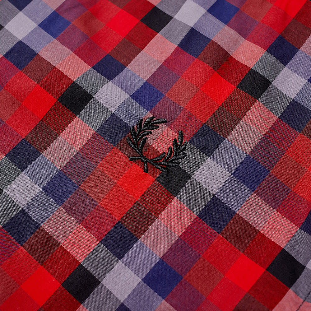 Fred Perry Multi Check Gingham Shirt - Red