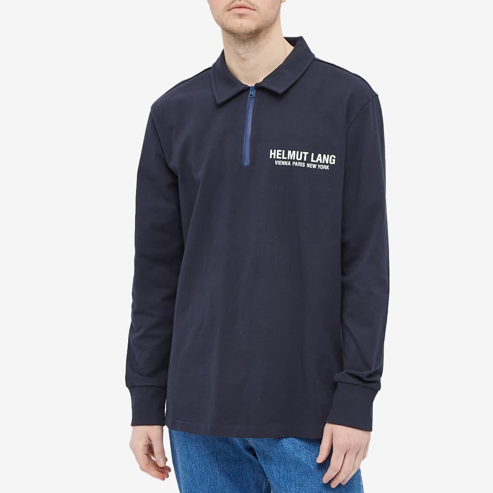 Helmut Lang Long Sleeve Logo Polo - Navy