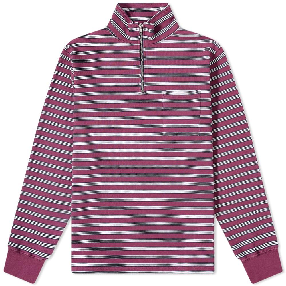 Très Bien Stripe Half Zip Sweat - Mauve