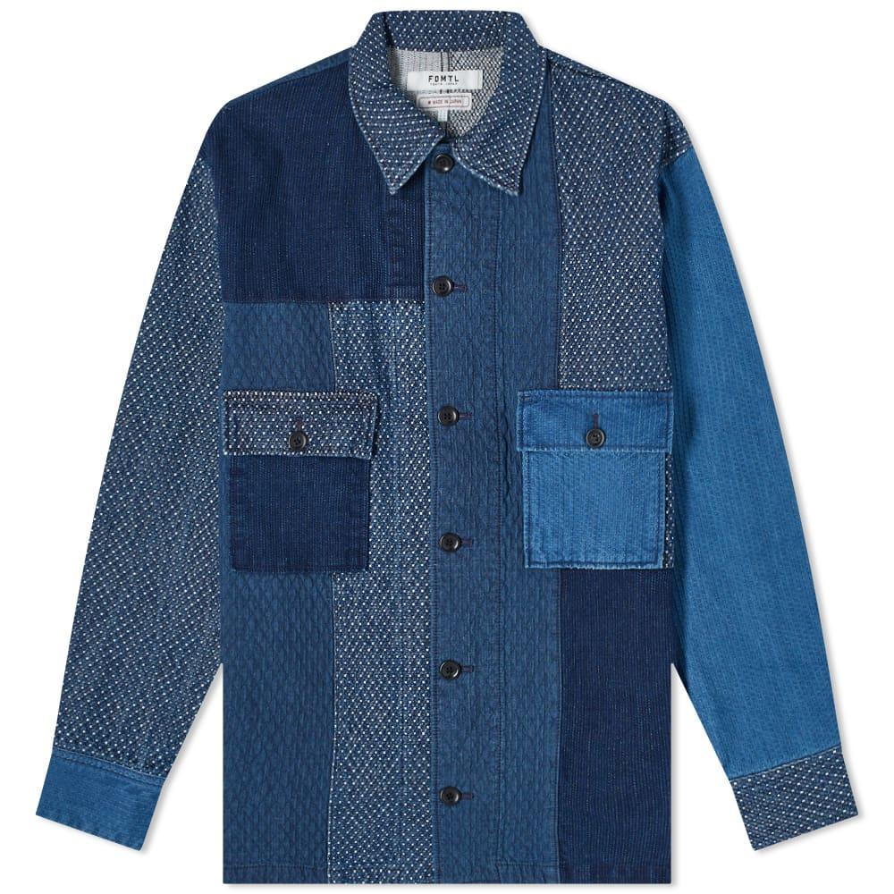 FDMTL 3Yr Wash Patchwork Shirt Jacket - Indigo