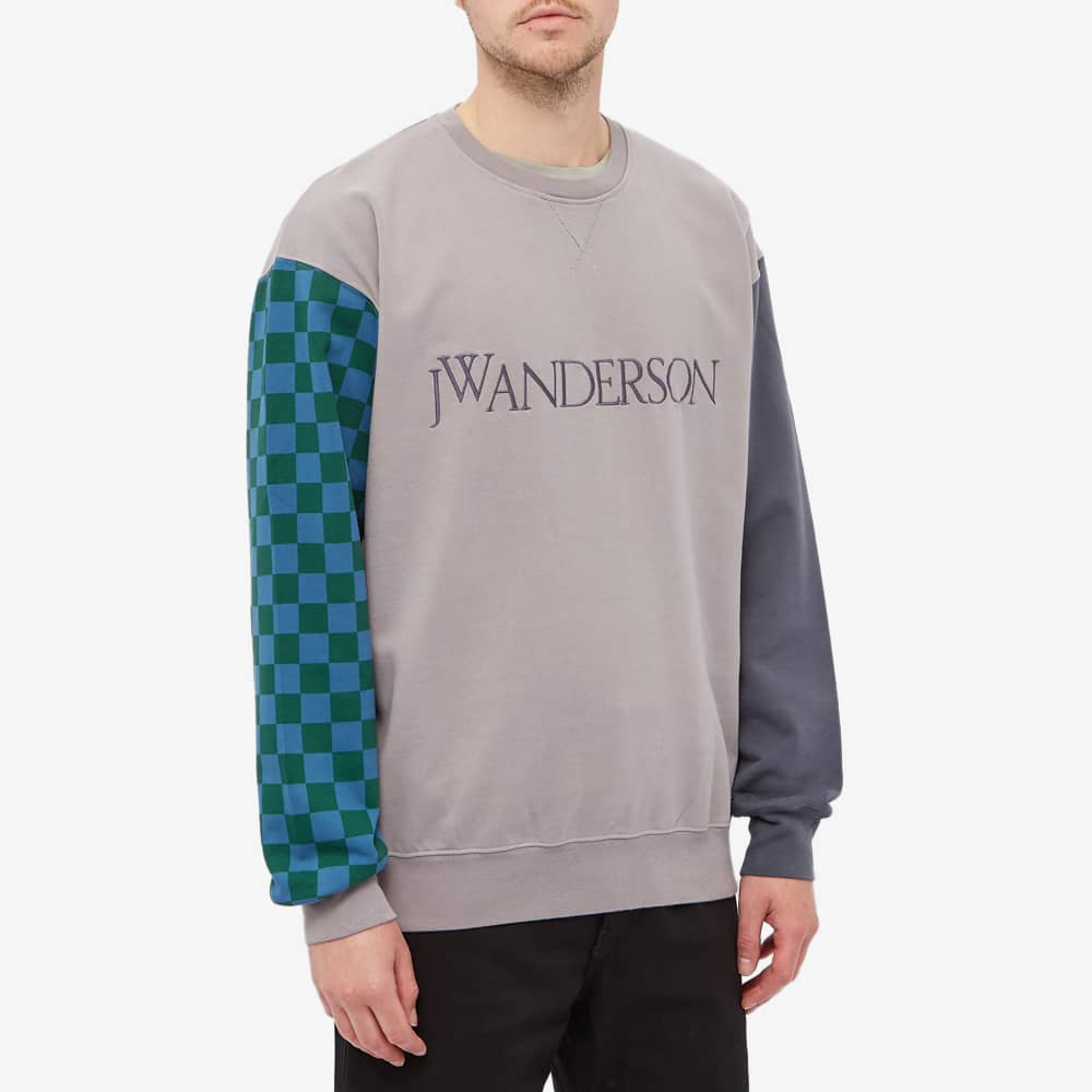 JW Anderson Colourblock Logo Crew Sweat - Grey