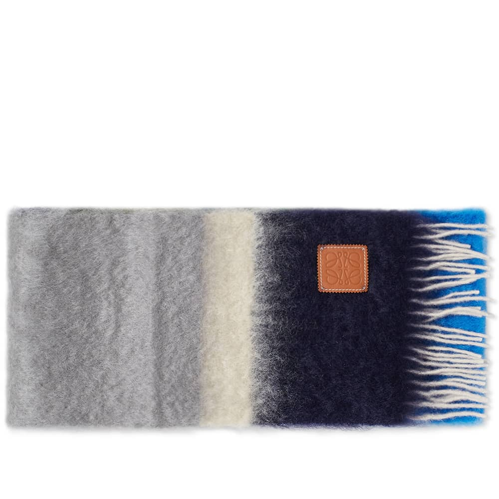 Loewe Stripes Mohair Scarf - Grey & Blue