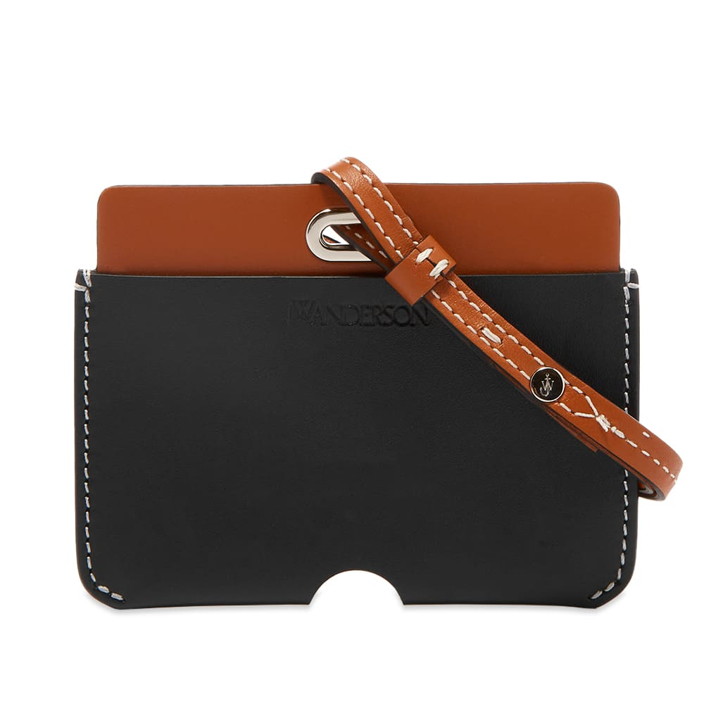 JW Anderson Leather Cardholder With Strap - Pecan & Black