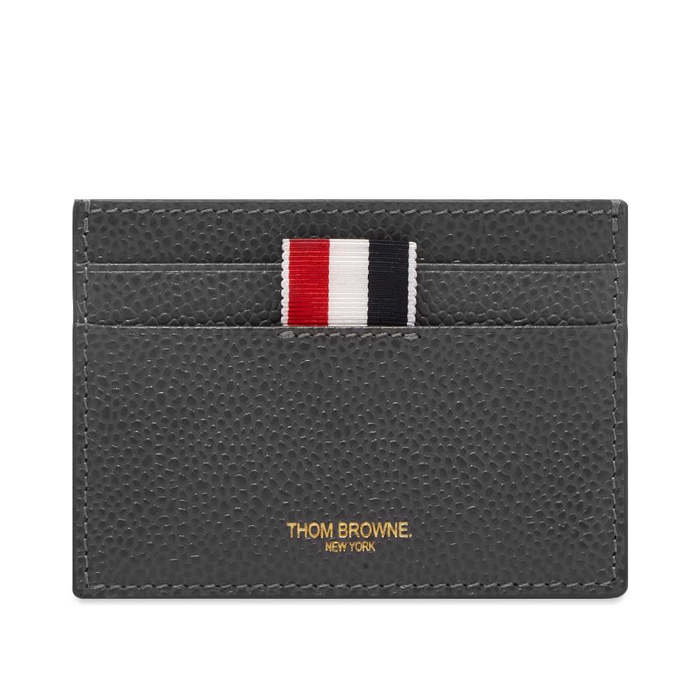 Thom Browne Leather Card Holder - Dark Grey