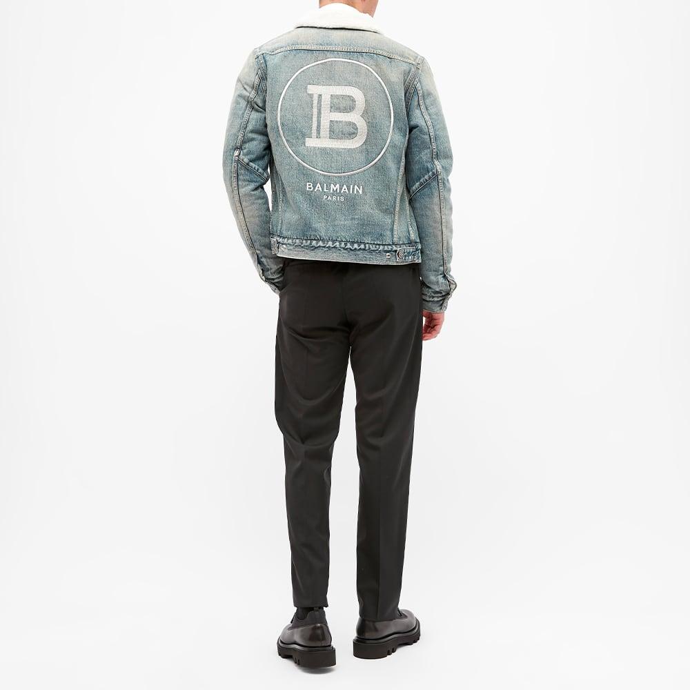 Balmain Faux Shearling Logo Denim Jacket - Blue