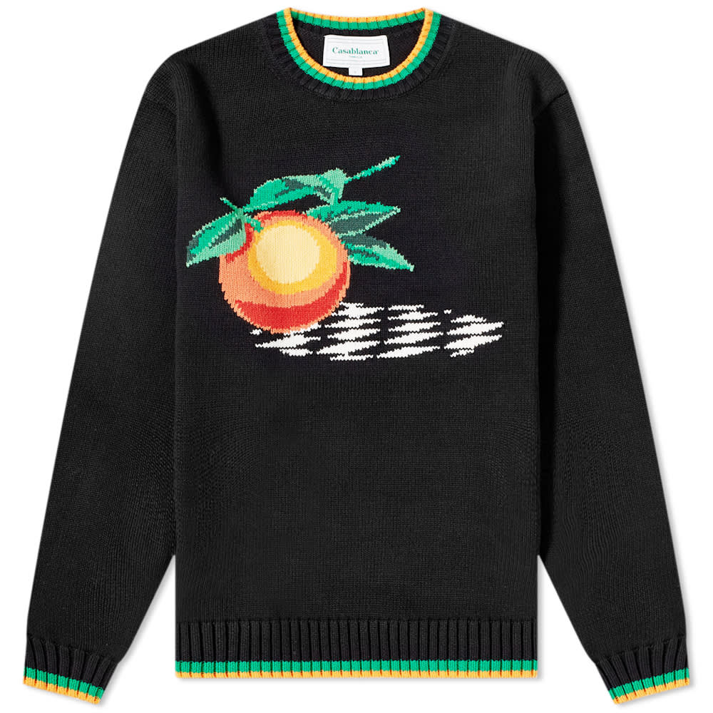 Casablanca Orange Intarsia Crew Knit - Black