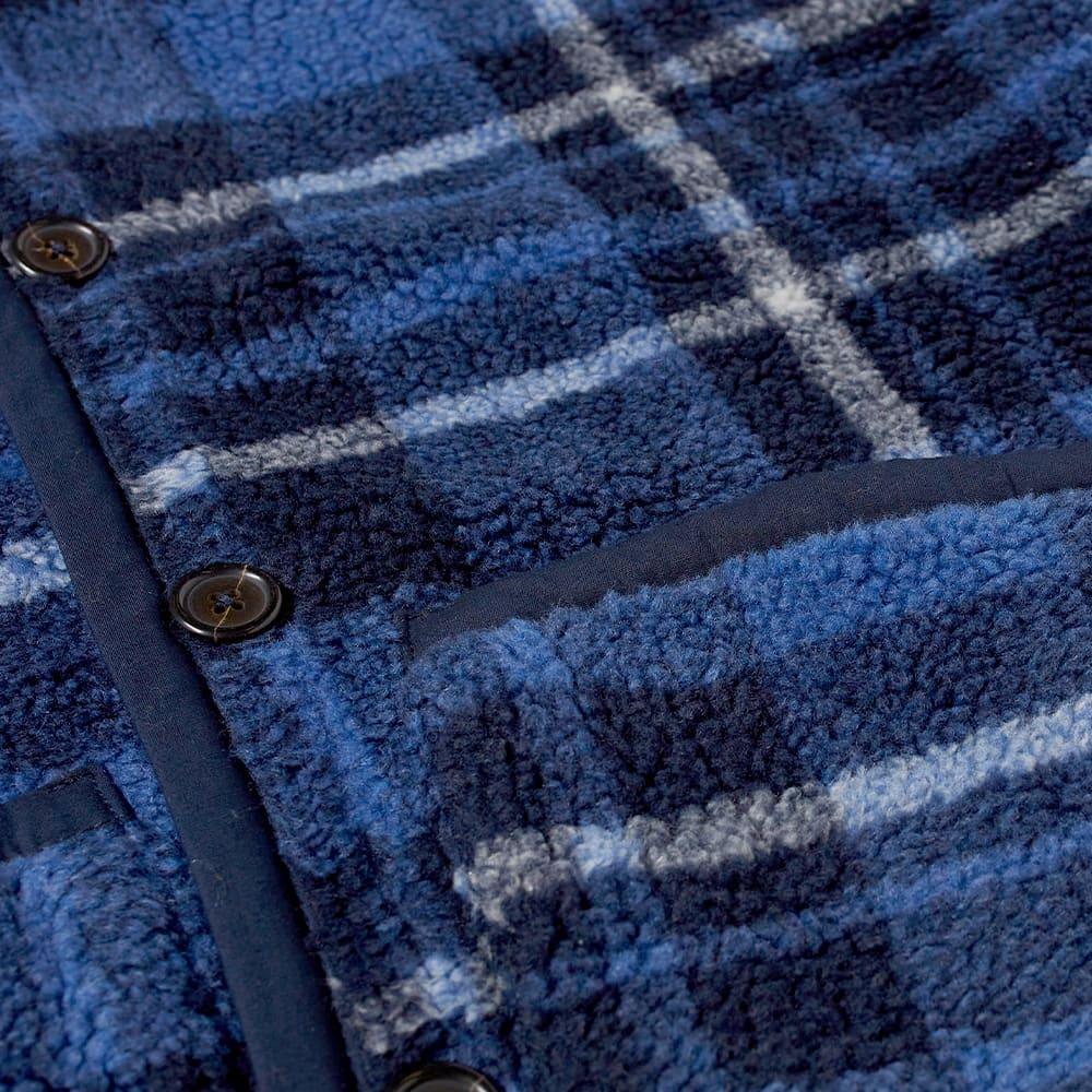 Universal Works Lancaster Check Mountain Fleece Gilet - Blue