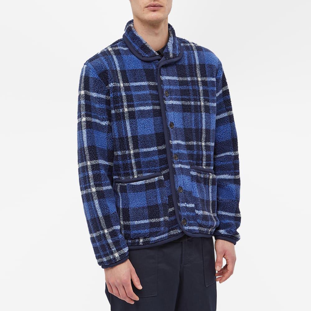 Universal Works Lancaster Check Mountain Fleece Jacket - Blue