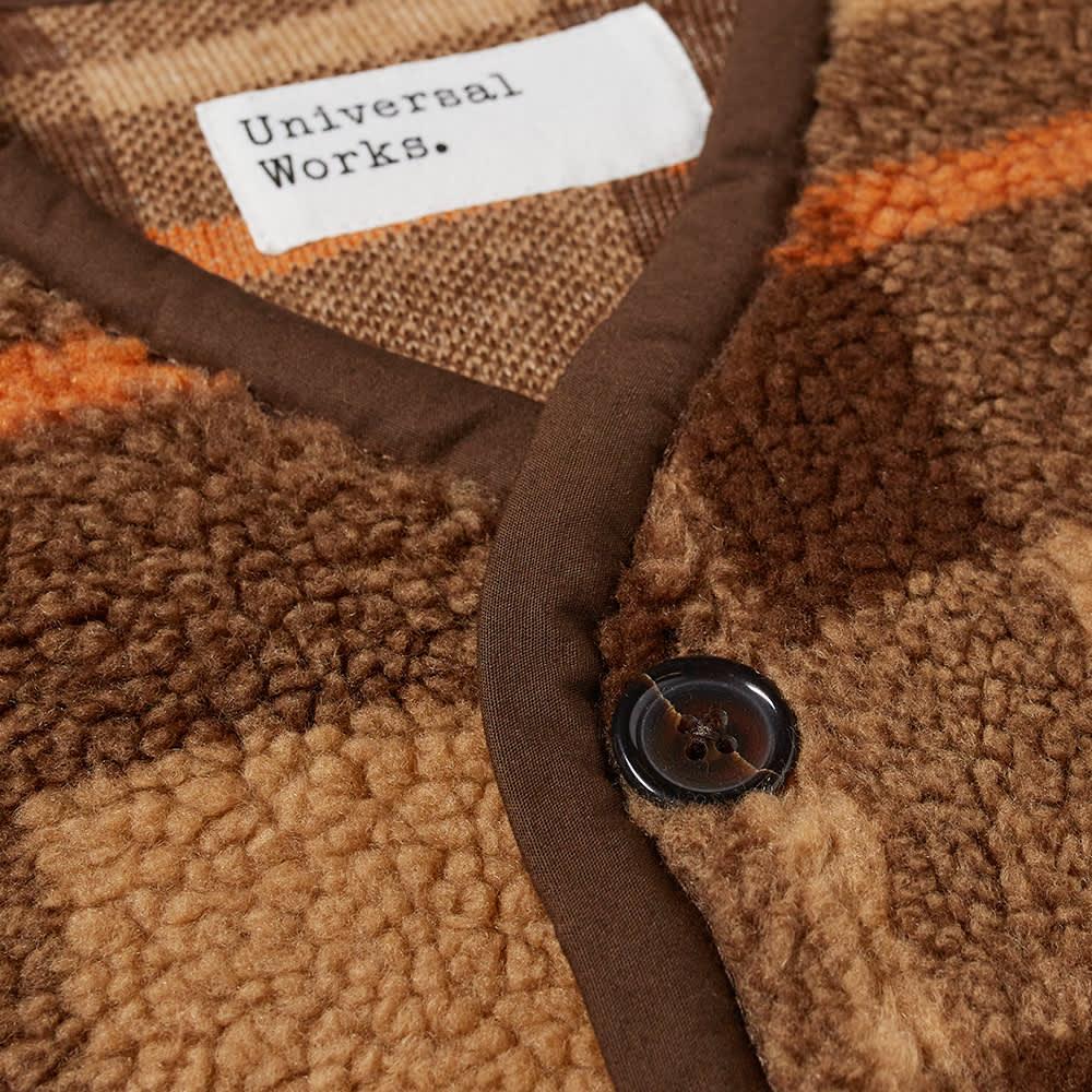 Universal Works Lancaster Check Mountain Fleece Gilet - Brown