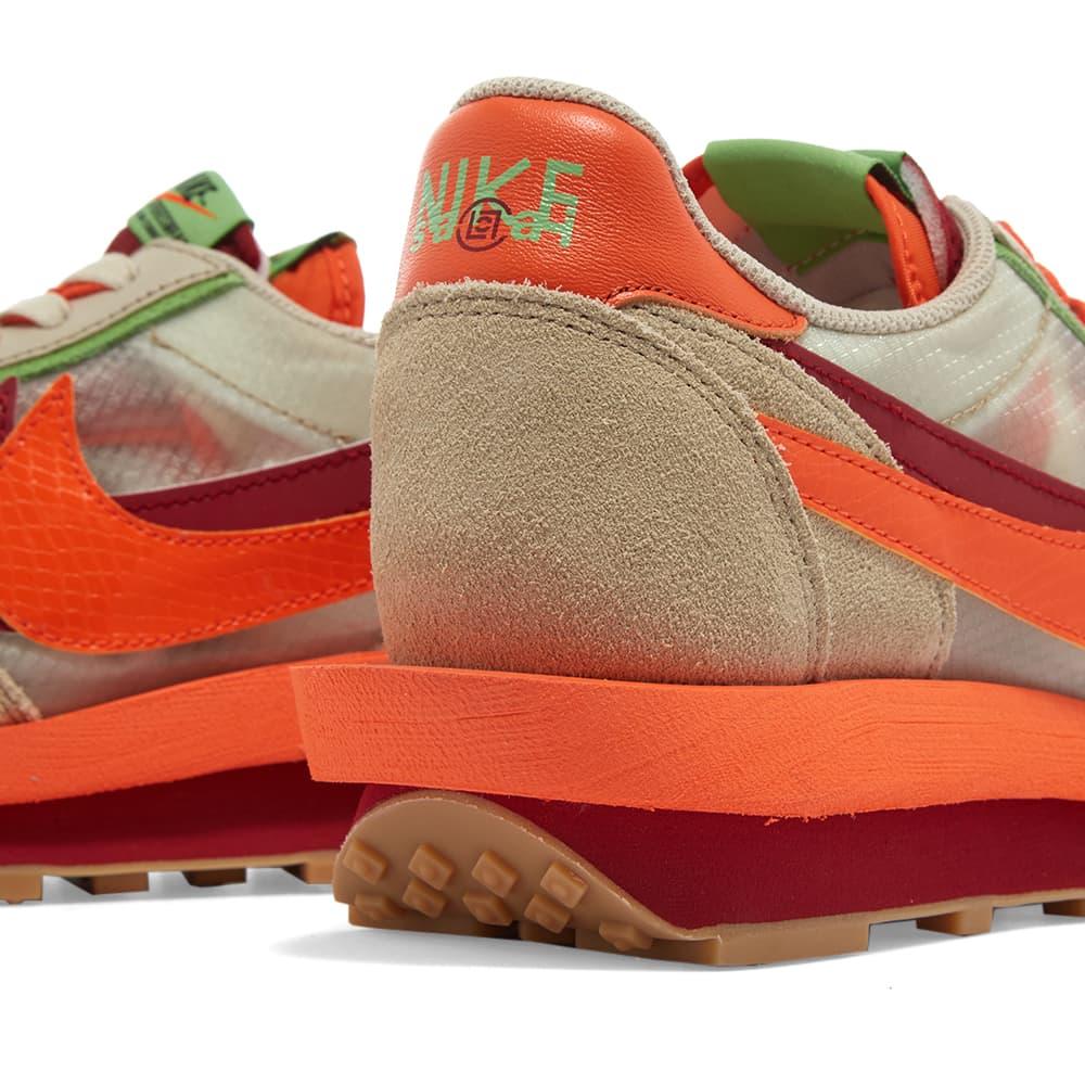 Nike x Sacai x CLOT LDWaffle - Orange Blaze & Deep Red