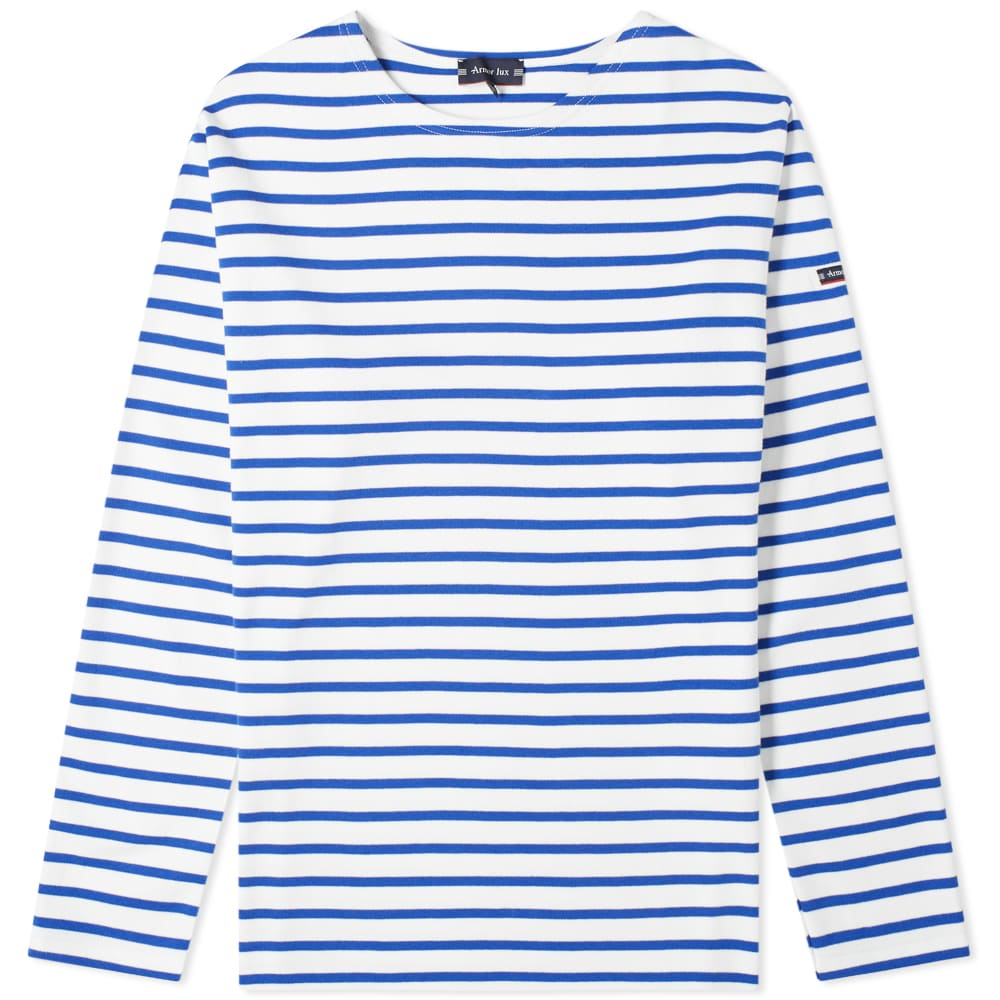 Armor-Lux 1525 Long Sleeve Loctudy Tee - White & Mid Blue