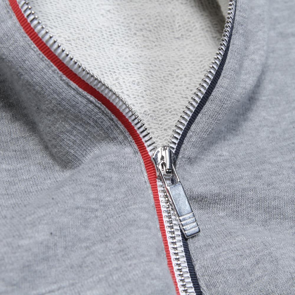 Thom Browne Raglan Zip Hoody - Light Grey & Dark Navy