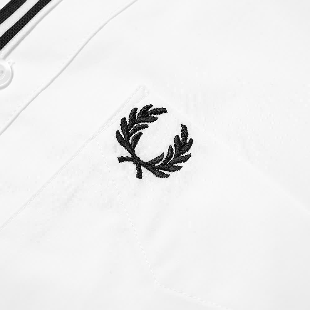 Fred Perry Button Down Taped Placket Poplin Shirt - Snow White