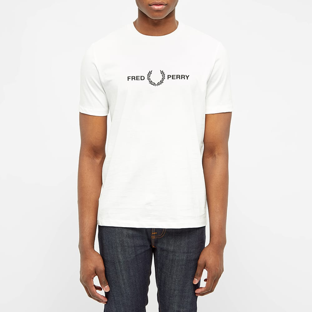Fred Perry Embroidered Logo Tee - Snow White