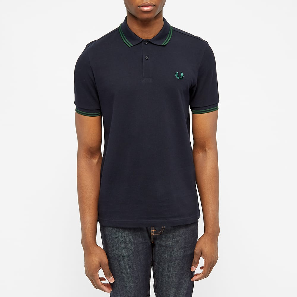 Fred Perry Slim Fit Twin Tipped Polo - Navy & Ivy
