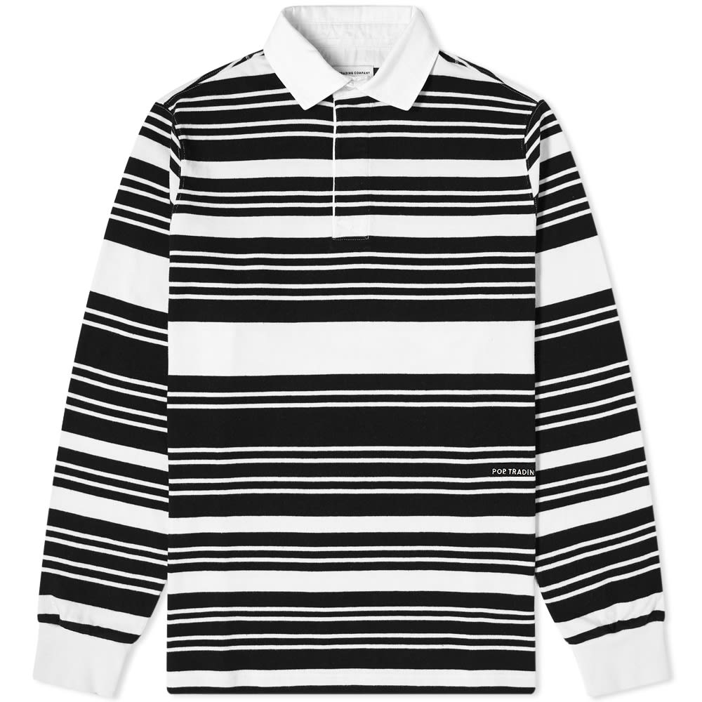 Pop Trading Company Stripe Rugby Shirt - Off White & Black