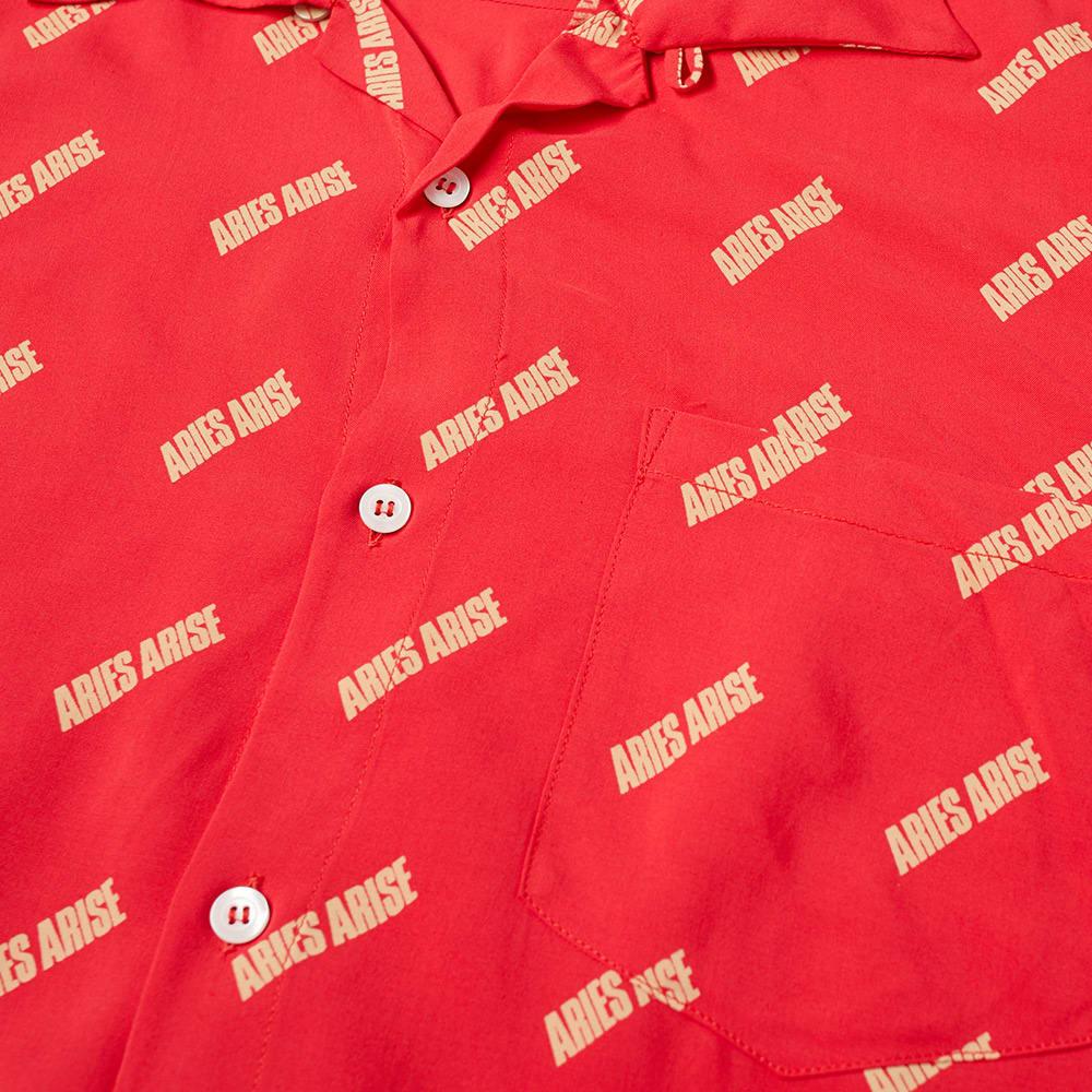Aries Logo Print Bowling Shirt - Red