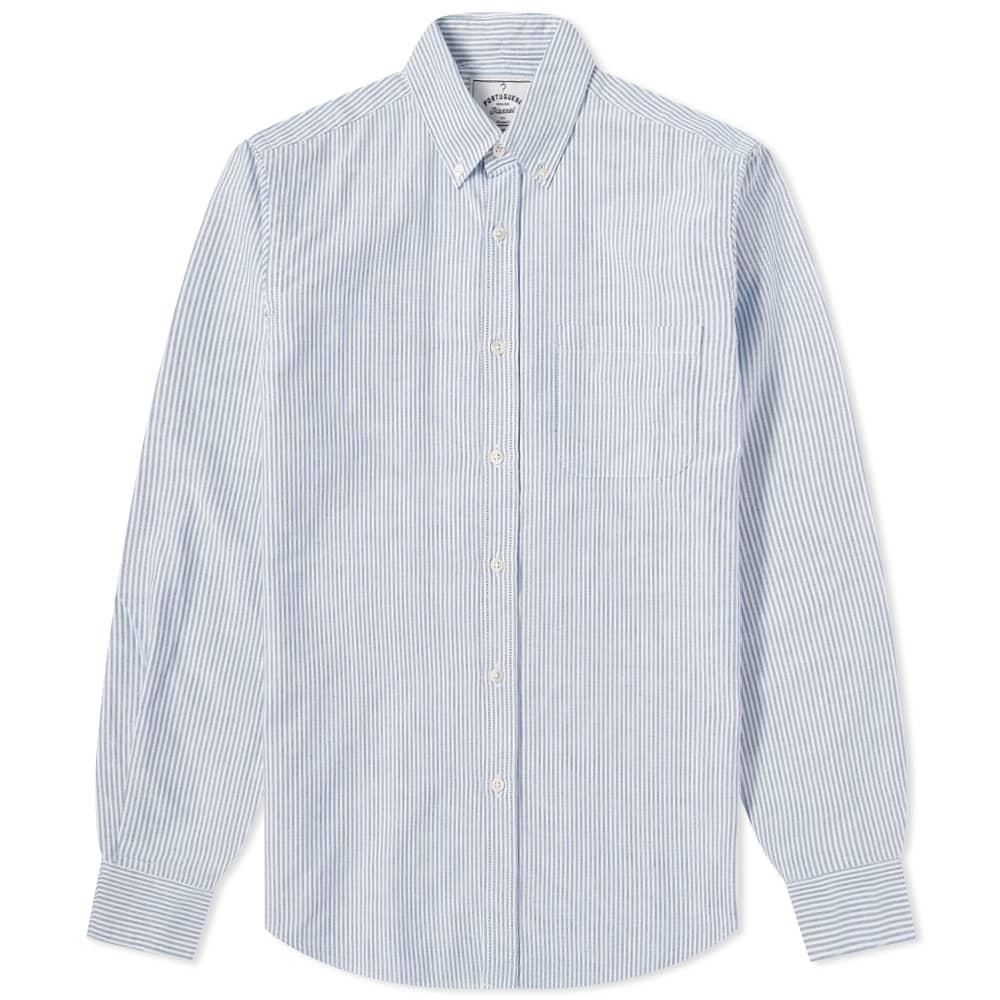 Portuguese Flannel Belavista Stripe Button Down Oxford Shirt - Blue