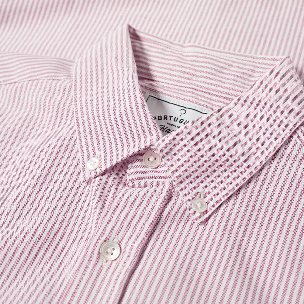 Portuguese Flannel Belavista Stripe Button Down Oxford Shirt - Red